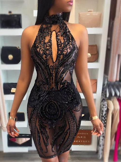 Halter Backless See-through Midi Dress