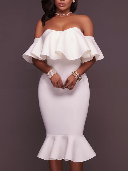 [Special Sale]Off The Shoulder Ruffles One-piece Midi Dress