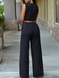 [Special Sale] High Waist V-neck Solid Sleeveless Jumpsuit With Belt