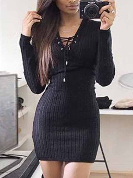 [Special Sale]Solid Lace-up V-neck Long Sleeves Skinny Mini Dress