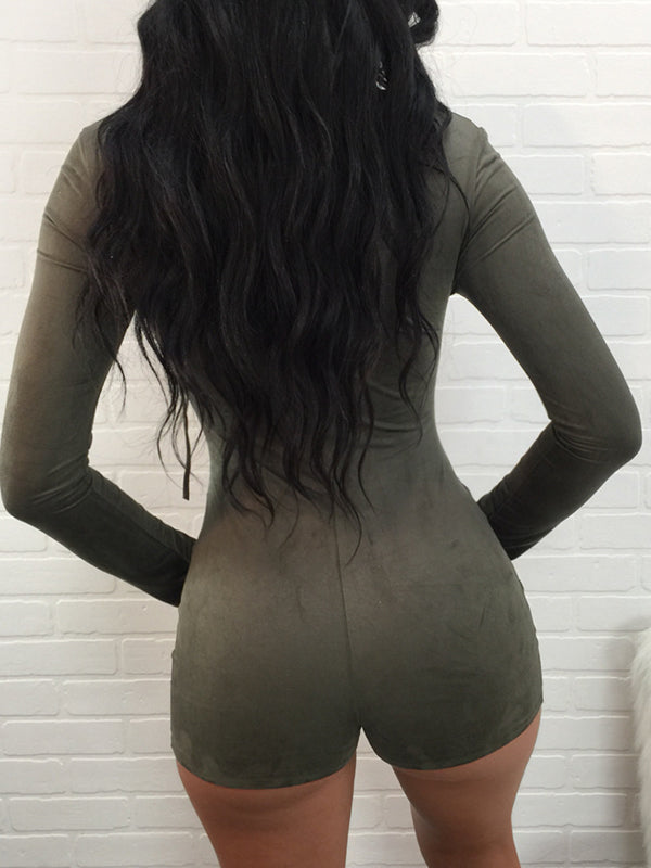 Solid V-neck Lace-up Hellow Out Long Sleeves Romper