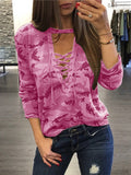 [Special Sale]Camouflage Deep V-neck Lace-up Long Sleeves Tops