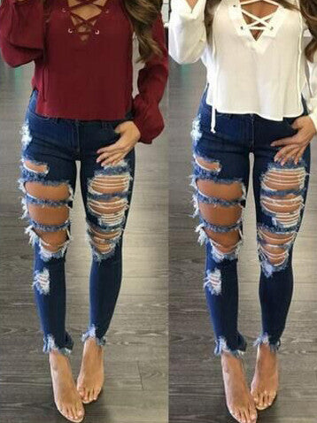 [Special Sale]High Waist Destroyed Ripped Distressed Skinny Denim Jeans