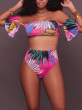Print Three Pieces Ruffles Swimsuits