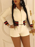 [Special Sale]Turndown Collar Long Sleeves Zipper White Two-piece Shorts Set
