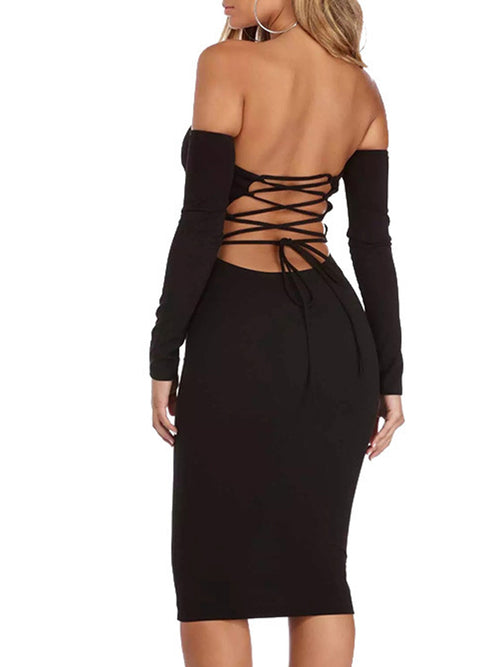 Off The Shoulder Long Sleeves Lace-up Midi Dress