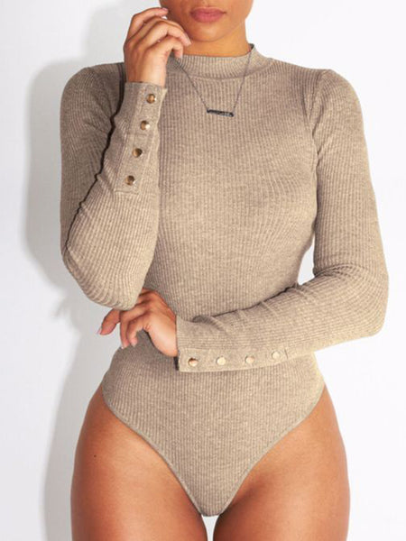 [Special Sale]Solid Long Sleeves Skinny Romper
