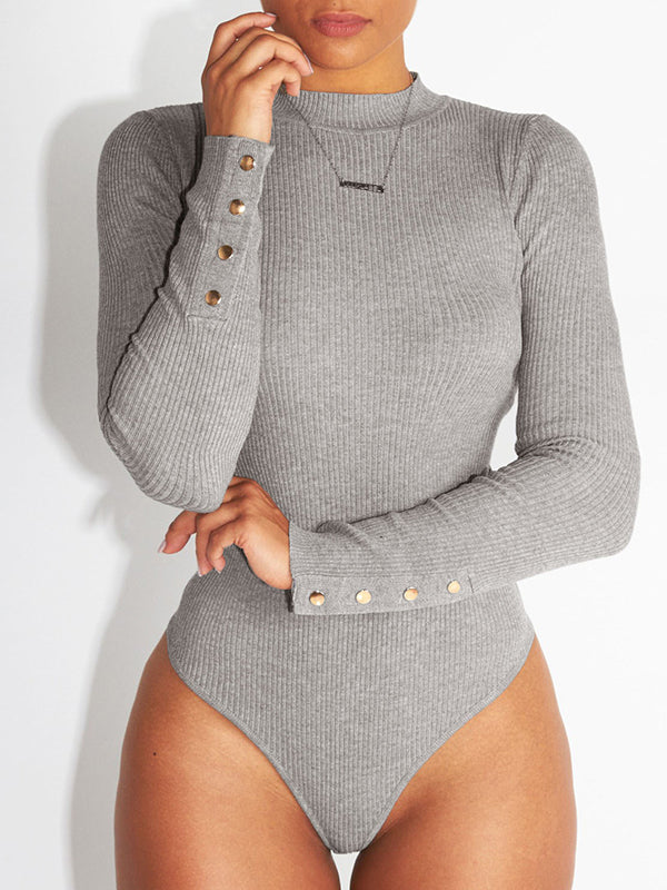 Solid Long Sleeves Skinny Romper