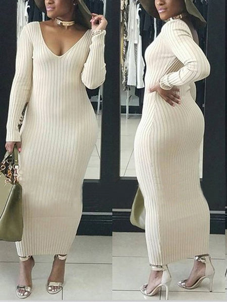 Solid Long Sleeves Skinny Maxi Dress