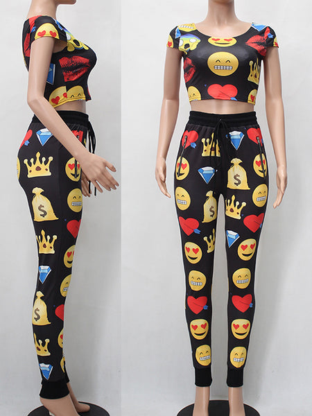 [Special Sale] Print Short Sleeves Patchwork Two-piece Pants Suits