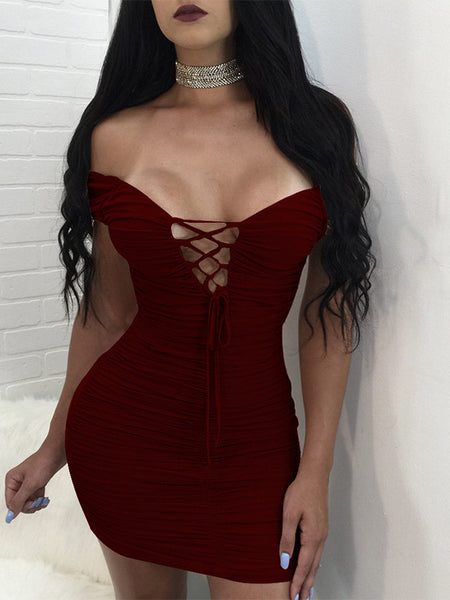 [Special Sale]V-neck Lace-up Cold Shoulder Folding Mini Dress