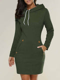 [Special Sale]Long Sleeves Solid Casual Hoodies Mini Dress With Hat