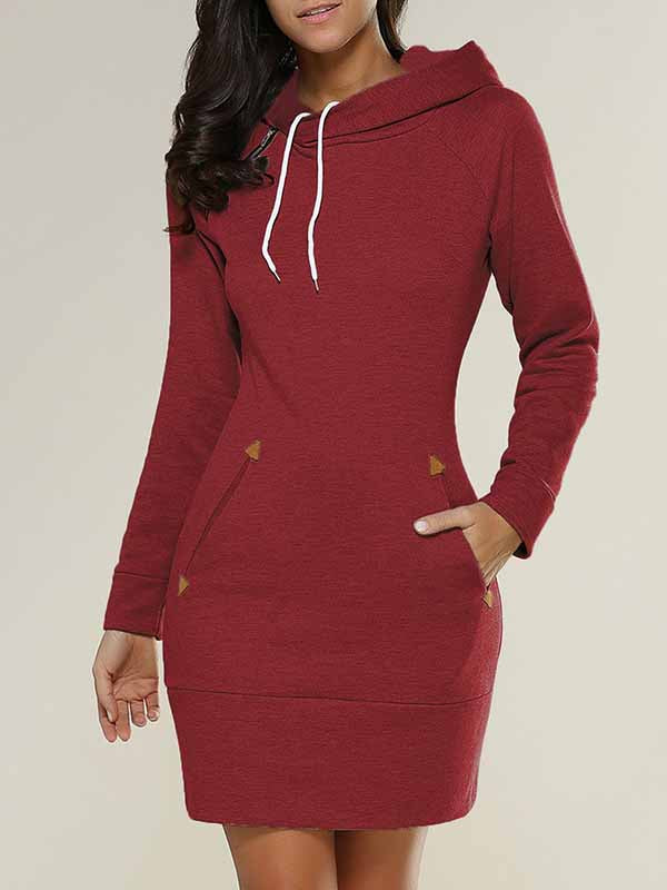 Long Sleeves Solid Casual Hoodies Mini Dress With Hat