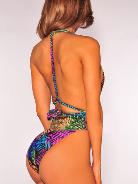 [Special Sale]Halter Print One Piece Swimwear