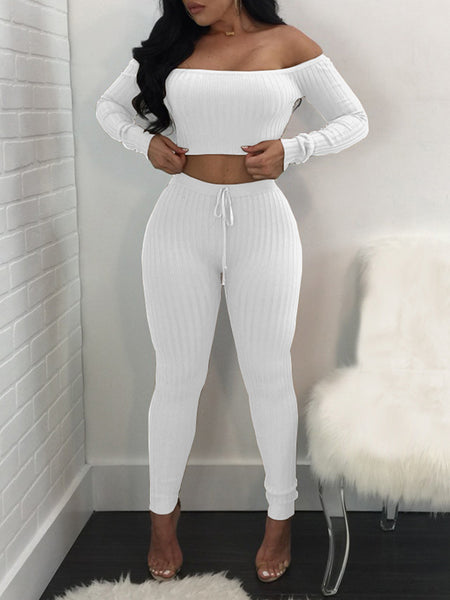 [Special Sale]  Off The Shoulder Long Sleeves Solid Two Pieces Pants Suit