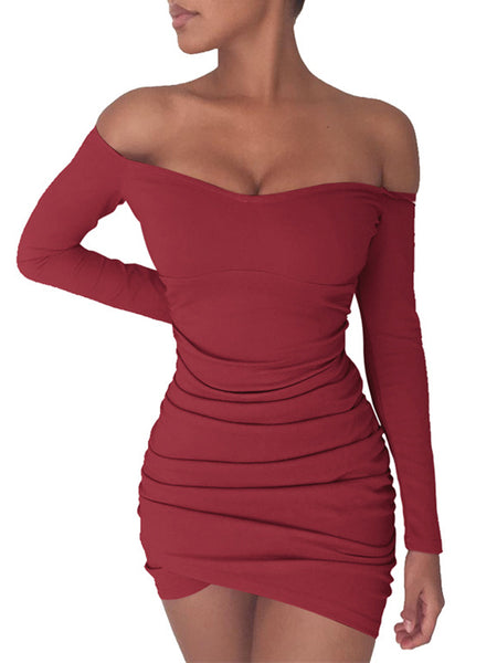 Off The Shoulder Long Sleeves Skinny Folding Mini Dress