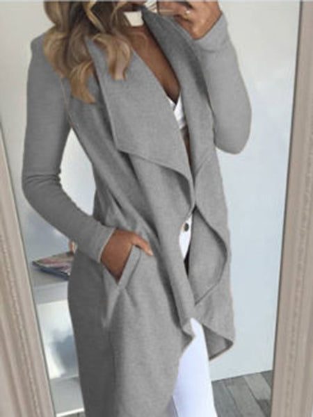 Turndown Collar Asymmetrical Apricot Long Coat