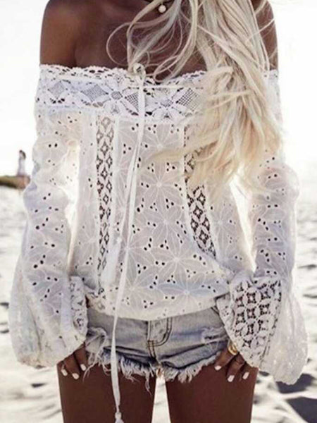 [Special Sale]Off The Shoulder Flare Sleeve Lace Tops