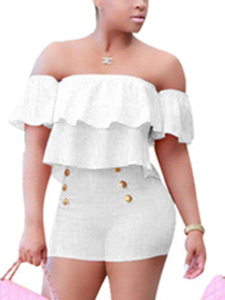 [Special Sale]Off the Shoulder Rompers with Ruffles and Buttons