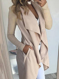 [Special Sale]Turndown Collar Asymmetrical Apricot Long Coat
