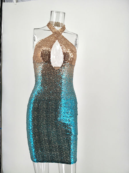 Sequins Halter Hellow Out Midi Dress