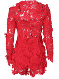 [Special Sale]Nylon Lace Long Sleeves Two Pieces Suit