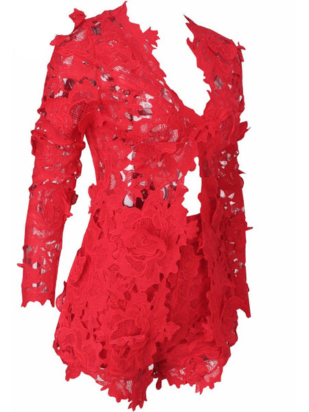 Nylon Lace Long Sleeves Two Pieces Suit