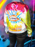 Colorful Sequins Button Long Sleeve Jacket