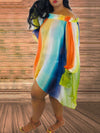 Mixed Color Puff Sleeve Off The Shoulder Dress
