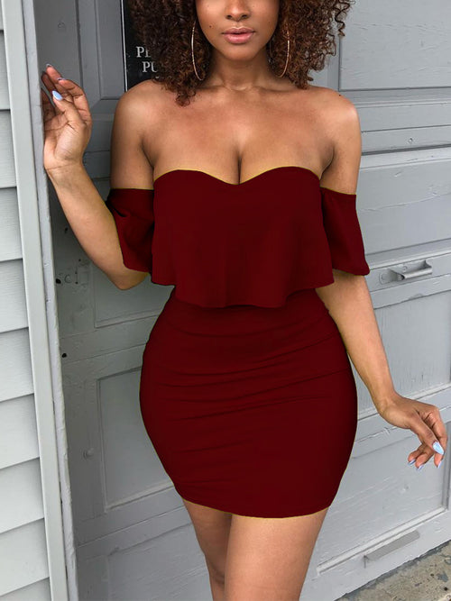 Sexy Flounced Solid Midi Dress