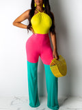 Color Block Spaghetti Straps Belted Jumpsuit