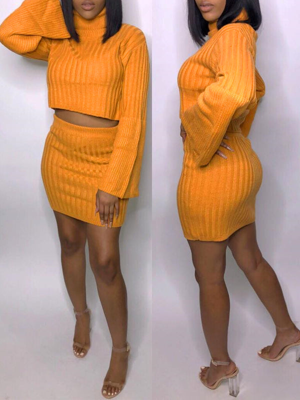 Solid Knit Long Sleeve Two Piece Mini Dress