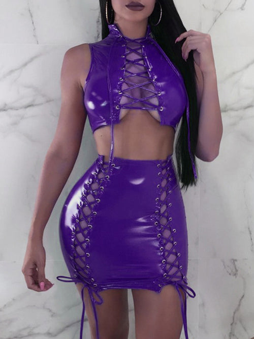 Sexy Solid Sleeveless Hollow Out Strapped PU Two Piece Mini Dress