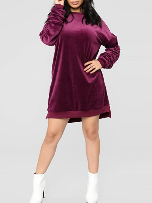 Lantern Sleeve Solid Casual Mini Dress