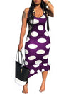 Fashion Polka Dot Sleeveless Ruffle Midi Dress