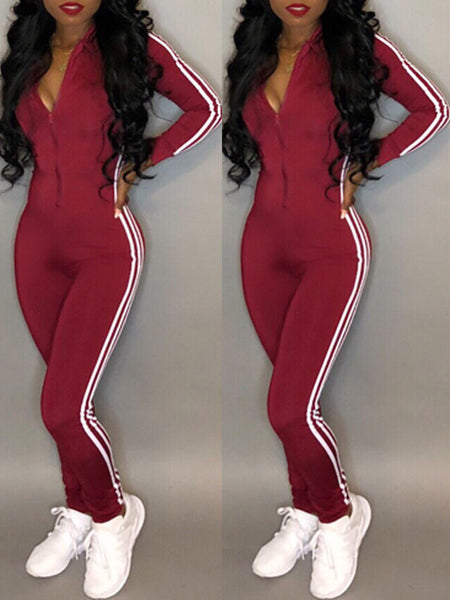 Casual Striped Zipper Long Sleeve Jumpsuit