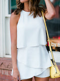 Solid Flounced Sleeveless Casual Romper
