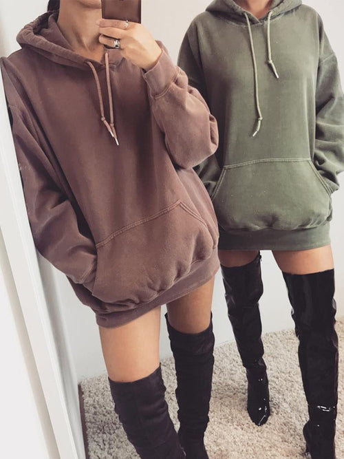 Casual Long Sleeve Hooded Mini Dress