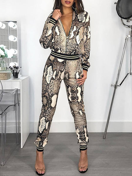 Fashion Snake Print Long Sleeve Two-Piece Outfits