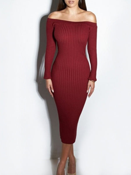 Solid Off The Shoulder Long Sleeve Midi Dress