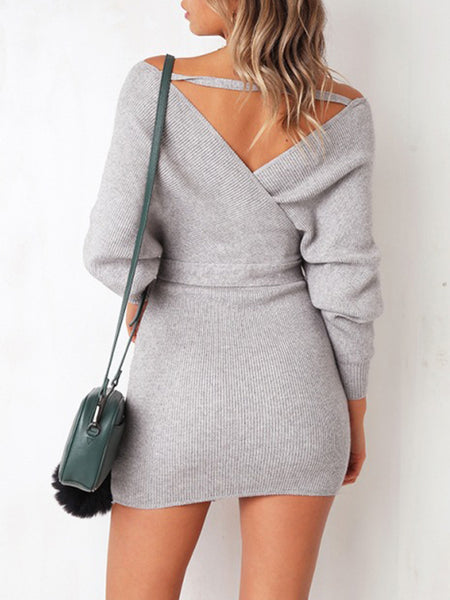V-neck Solid Sexy Hollow Out Bandage Mini Dress