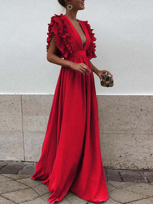 Plus Size Deep V-Neck Ruffle Solid Color Maxi Dress