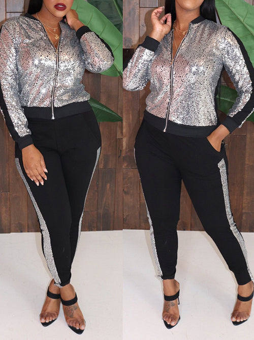 Sequins Zipper Collar Pocket Two Piece Outfits