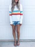 Rainbow Stripe Casual Round Neck Top