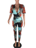 Print Slim Patchwork Jumpsuit