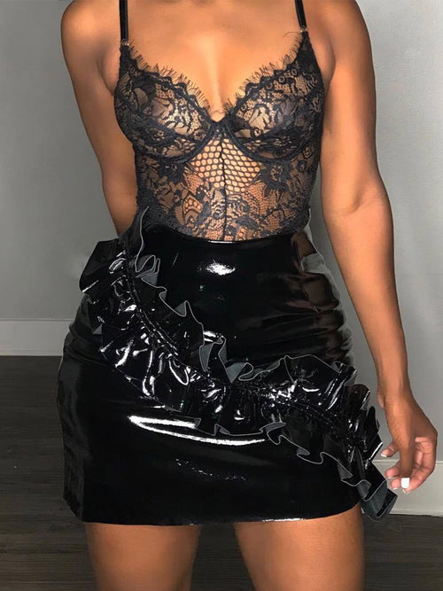 Sexy Solid Ruffle PU Mini Skirt