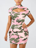 Camouflage Hollow Out Mini Dress