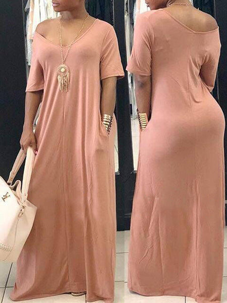 Casual Solid Off The Shoulder Short Sleeves Maxi Dress