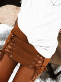 Eyelet Strapped Solid Color High Waist Skirt