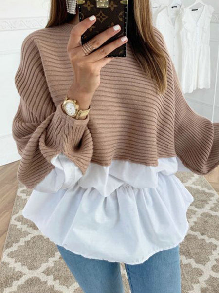 Solid Color Knitted Splicing Ruffled Top
